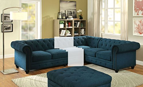 Sofa Sectional Asian (Furniture of America Stanford Ii Dark Teal Small Sectional)
