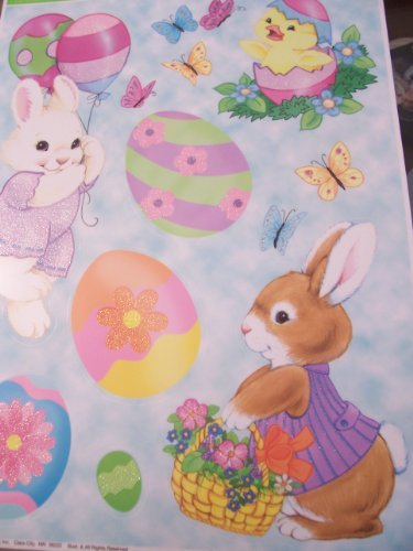 Easter Glitter Window Clings ~ Bunnies with Baskets & Balloons (12 Clings, 1 Sheet)
