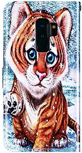 Herbests Kompatibel mit Samsung Galaxy S9 Plus Hülle Leder Schutzhülle Vintage Handyhülle mit Marmor Muster Flip Brieftasche Hülle Stoßfest Wallet Leder Handytasche Kartenfach Magnet,Katze