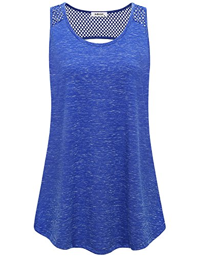 AxByCzD Running Tank,Summer Womens Workout Clothes Mesh Open Back Sleeveless Yoga Outfits Heather Breathability Cool Bodybuilding Jogging Walking Exercise Tops Ladies Running Shirt Blue XX-Large