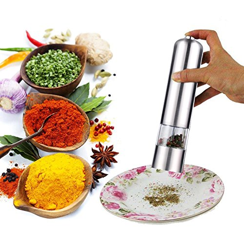 Pepper Salt Spice Grinder Mill IdealHouse Electric Automatic AUTO Stainless Steel Grinder Shaker Mill with Ceramic Grinding Mechanism for Kitchen Restaurant (Round Top) (Pepper And Shakers Salt Tire)