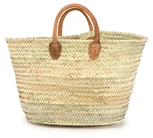 (Moroccan Straw Summer Tote Bag w/ Brown Leather Handles, 21