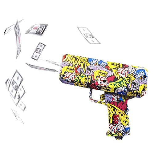 (Jannyshop Money Gun Toy with 3 X 100 Prop Money Make it Rain Money Dispenser Dollar Shooter Paper Money Spray)