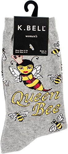 K. Bell Women's Fun Novelty Crew, Gray Heather Queen Bee, 9-11 for $<!--$5.60-->