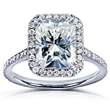 Near-Colorless (F-G) Moissanite Engagement Ring with Diamond 3 CTW 14k White Gold