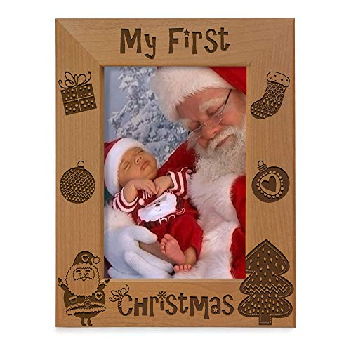 KATE POSH My 1st Christmas Picture Frame, My First, Babys 1st Christmas, New Baby, Santa & Me Engraved Natural Wood Photo Frame (5x7-Vertical - Vintage)