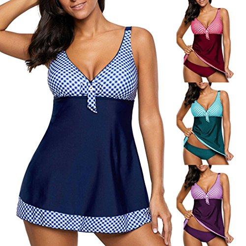 Bikini da Donna Sexy Set Elegante Puntino due Giuntura Collare 5XL bagno con Tankini Junkai S pezzi multicolore Prospettiva Porpora gonna Costume 40aTwxn5q