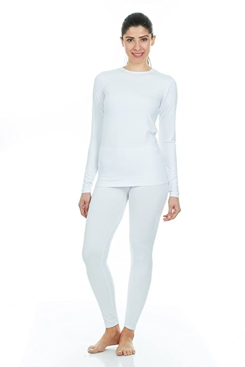9208b0129568 Thermajane Women's Ultra Soft Thermal Underwear Long Johns Set with Fleece  Lined (X-Large, White): Amazon.in: Beauty