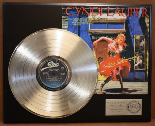 Cyndi Lauper'She'S So Unusual' Platinum LP Record LTD Edition Award Style Collectible Display Gold Record Outlet