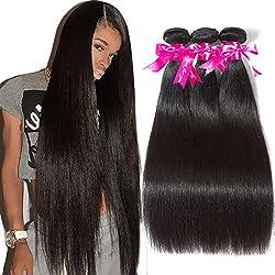 Subella Brazilian Straight Hair 3 Bundles Grade 7A Virgin Unprocessed Brazilian Straight Human Hair Weave Bundles Natural Black Color (12 14 16inch)