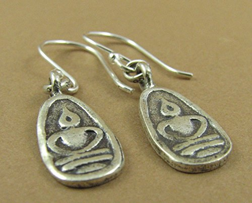 ef9b060ce Amazon.com: Buddha earrings. Solid fine silver with sterling hooks. Thai  style. Handmade: Handmade