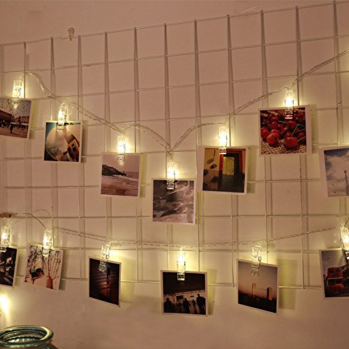 Iulove 1.5M 10 LED Hanging Card Picture Clips Photo Pegs String Light Lamp Indoor Decor (White B)
