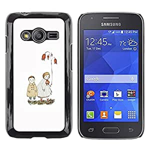 LECELL--Funda protectora / Cubierta / Piel For Samsung Galaxy Ace 4 G313 SM-G313F -- White Pastel Sea Love Couple --