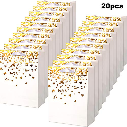 Chuangdi 20 Pieces Gold Heart Paper Bags Party Gift Bags Bride Bronzing Kraft Bag Hen Party Bags with Handles for Weddings, Birthday Parties ()