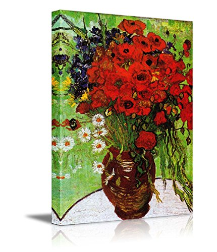 Van Gogh Poppies - wall26 Red Poppies Daisies Vincent Van Gogh - Oil Painting Reproduction on Canvas Prints Wall Art, Ready to Hang - 24