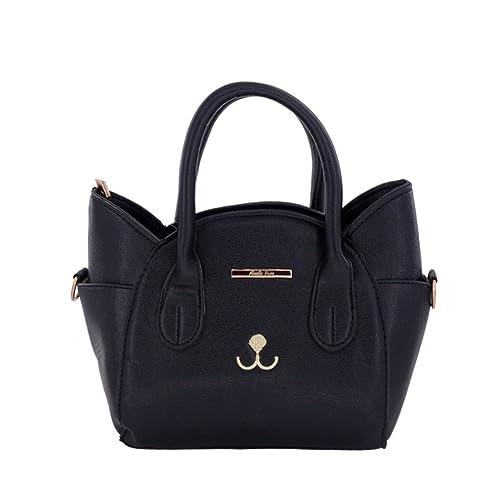 Amazon.com  Women Girls Purses Cute Cat Satchel Candy Color Cross Body Handbag  Tote Shoulder Bag Black  Shoes b3383372a949a