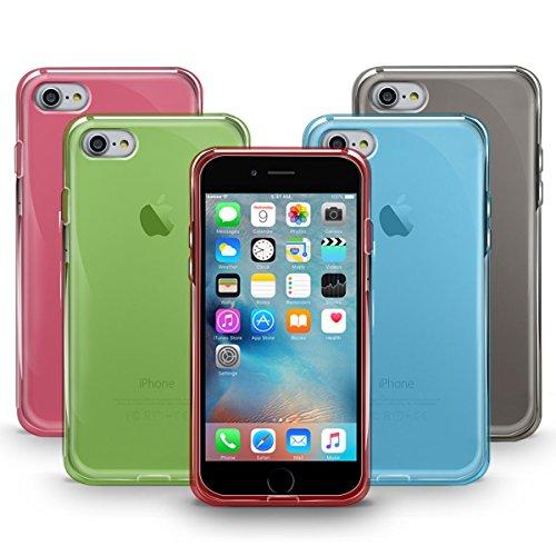 Funda iPhone 8, Orzly® - FlexiCase para Apple iPhone 8/iPhone 7 (4,7 Pulgadas) - Funda Protectora de Gel Flexible 100% TRANSPARENTE [Compatible con carga inalámbrica] 5-COLOR MULTIPACK for iPhone 7