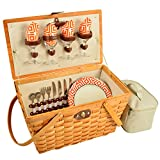 Picnic at Ascot Settler Traditional American Style Picnic Basket, Diamond Orange