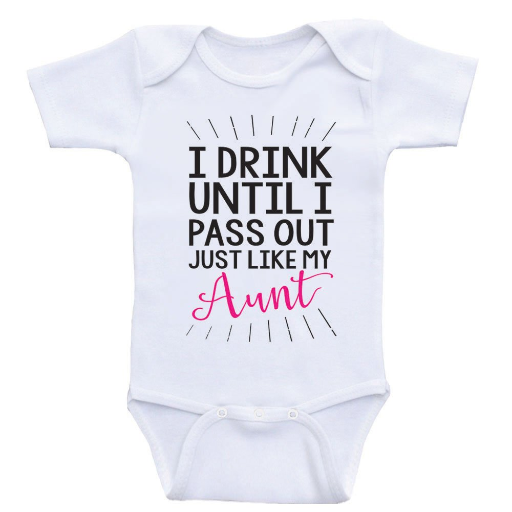 Heart Co Designs Aunt Baby Clothes Drink Until I Pass Out Just Like My Aunt Funny Onesies (6mo-Short Sleeve, Hot Pink Text)