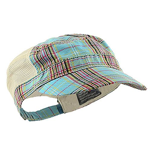 Back Cadet Cap - Mega Cap Women's Sky Blue Plaid Cadet Cap w/Mesh Back