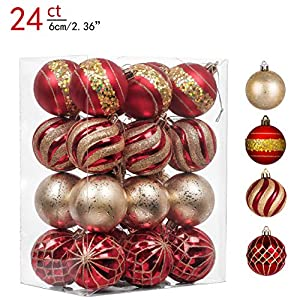 Valery Madelyn 24ct 60mm Luxury Red and Gold Shatterproof Christmas Ball Ornaments Decoration,Themed with Tree Skirt(Not…