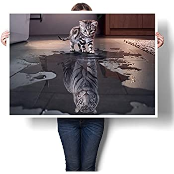 PICINST Believe In Yourself Cat Tiger Poster And Print Kitten Seeing A Puddle