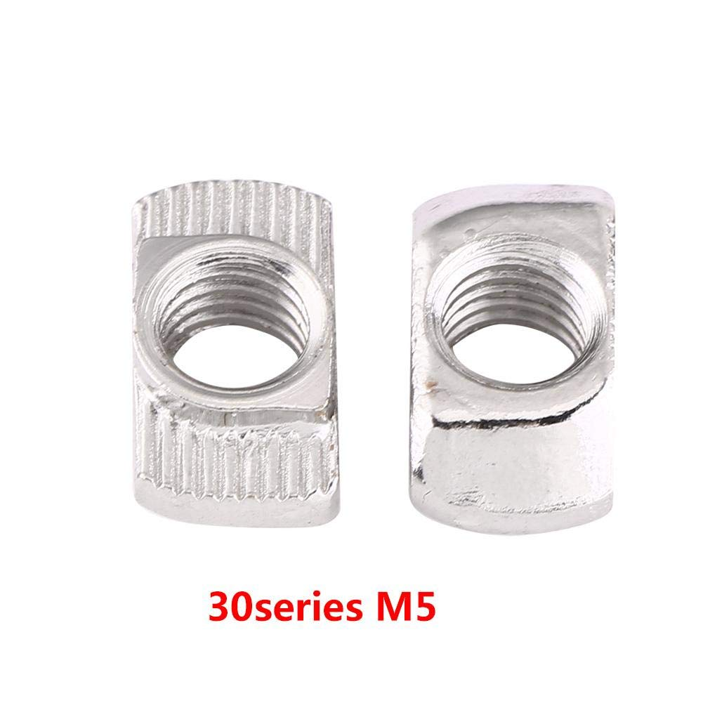 EU40-M6*19.5 * 8 Attache en Acier au Carbone Zingu/ée pour /Écrou de T/ête de Marteau 50Pcs T-slot pour le Profil en Aluminium