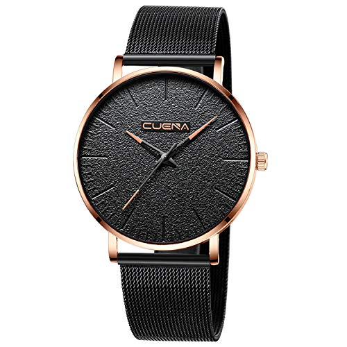 Men Watch Luxury Quartz Watches Alloy Band Black Dial Casual Watches Male Business Watch Waterproof 30M ()