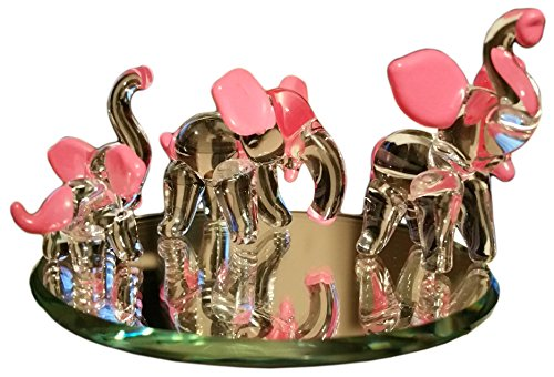 Flame Art Glass Hand Blown Glass Elephant Family Figurines with Beveled Display Mirror, Hot Pink - Lucky Elephant Art Glass