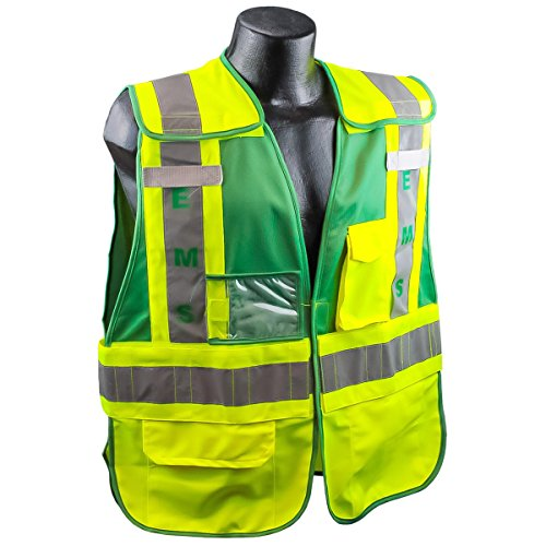 Public Safety Apparel - Full Source PSV-EMS ANSI 207 Public EMS Safety Vest - Lime & Green - XL/2XL