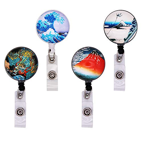 Card Alligator Business - WOLUNWO Crystal Retractable Badge Holder Reel on ID Name Card Holders with 360° Alligator Swivel Clip 4 Pack Mount Pattern Series (Mount Pattern Series)