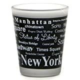New York City Shot Glass, Black and White Text Landmarks and Sights from NYC
