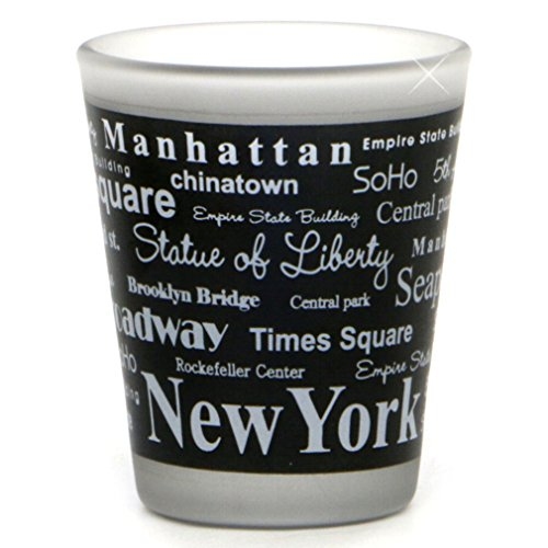 New York City Shot Glass, Black and White Text Landmarks and Sights from NYC -