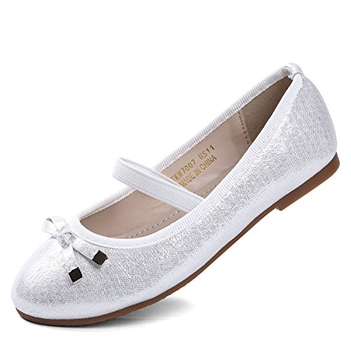 (EIGHT KM EKM7007 Toddler & Girl's Ballet Flats Mary Janes Dress Shoes SILVER-12)