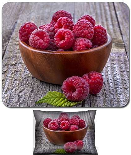 Liili Mouse Wrist Rest and Small Mousepad Set, 2pc Wrist Support Healthy organic raspberries in a bowl on the old rustic table 29450575