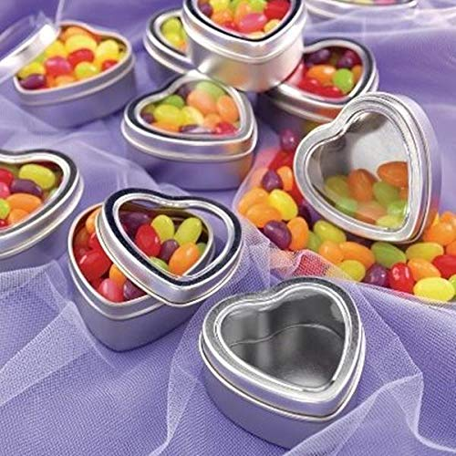 Efavormart 10 Pack Silver Heart Favor Tins with Clear Lid for Wedding Favors