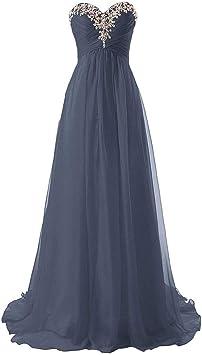 Damska sukienka ślubna, z szyfonu, na wesele, dla druhny, z plisowanym wzorem, z koralikami, długa sukienka wieczorowa, formalna sukienka wieczorowa, wieczorowa: Küche & Haushalt