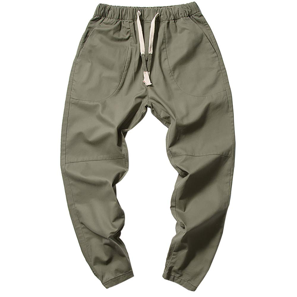 PASATO Clearace Sale! Men's Casual Pants Trousers Baggy Pants Overalls Feet Loose Beam Harem Pants(Army Green, XL)
