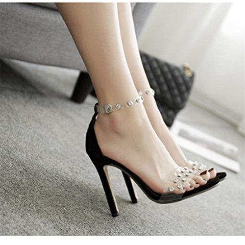 Poisson Boucle Parti Bowknot Bouche Femmes Black Xie Grandes Talon Taille Fleurs Sandales Sangle Haute pSgt6wx