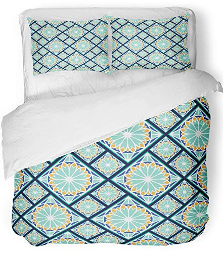 Emvency Bedsure Duvet Cover Set Closure Printed Decorative Colorful in Spanish Style Spain Tilework Portugal Ceramic Tiles Azulejo Indigo Breathable Bedding Set With 2 Pillow Shams Twin Size by Emvency