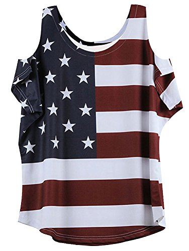 MAXIMGR Women's USA Flag Print Cold Shoulder Casual Loose T Shirt Top Blouse Size Large (Stripe)
