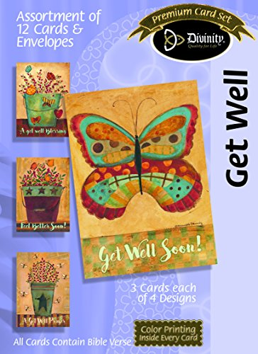 Get Well Butterfly Floral 5 x 7 Inch Set of 12 Greeting Cards Assortment with -