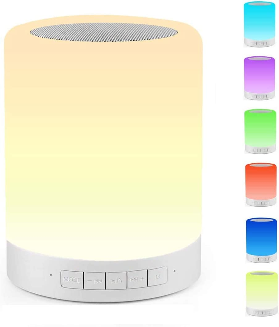 Celcube Night Light Bluetooth Speaker Renewed Touch Bedside Lamp with Wireless Bluetooth Speaker Gift for Men Women Teens Kids Children LED Table Lamp with Stereo Speaker Smart Dimmable Color Night Light