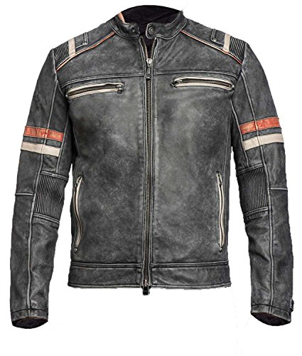 e Motorcycle Rider Cafe Racer Retro Brown Biker Genuine Leather Gold Dark Distressed Jacket (Distressed Black, Large) ()