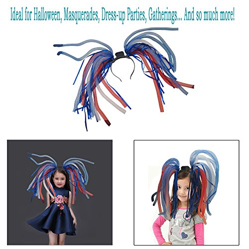 Light Up Hair - Toy Cubby LED Party Rave Disco Flashing Noodle Wig - Light Glowing American Colored Dreads. Ideal for Halloween, Dress Up Parties, Masquerades...and So Much More! Be Refined!]()