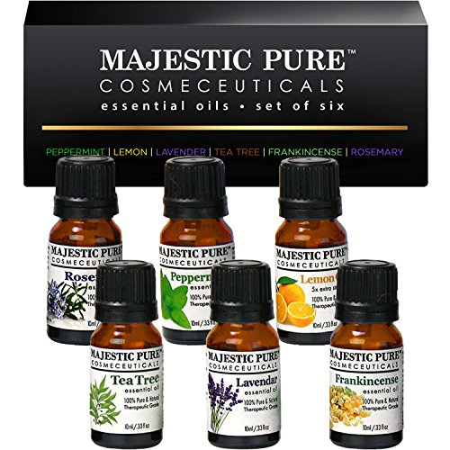 Essential Oils Set of Premium 6 from Majestic Pure, Therapeutic Grade Aromatherapy Oil Gift Set - 10 ml - Lavender, Frankincense, Peppermint, Lemon, Tea Tree & Rosemary Oils (Massage Cooling Spray compare prices)