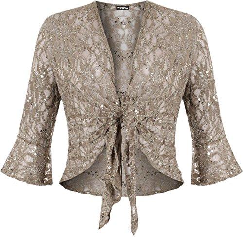 floreale 44 pizzo top da forti nodo motivo Fashion bolero Coprispalle lustrini donna 4 taglie nbsp; nbsp;Less pqgY648