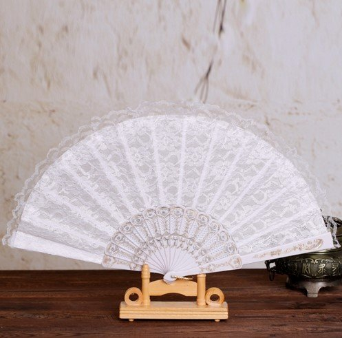 White Sequins Lace Trim Hand Fan Portable Dancing Party Fan Party Favors Gifts For Women Girls Costume Party by Hand Fan