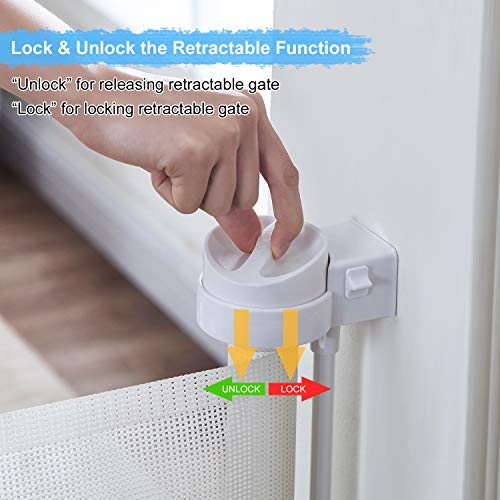 Retractable Safety Baby Gate – Extra Width 180cm 71 inch 360 Degree Telescopic Gates for Doorways, Baseboard Openning, Door Replacement