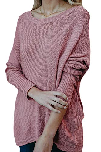 Casual Casual Pullover Colore Rosa da Uomo Maglioni Lunghe Lunghe Lunghe Maniche Large FuweiEncore Invernali Larghi Rosa Lunghe a Dimensione Maniche con a q6FxAFwvX